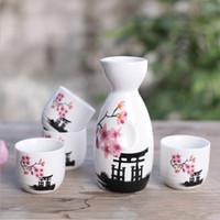 Japon Sake Set El Boyalı Kiyomizu Tapınağı ve Kiraz Çiçeği Seramik Şarap Şişesi Bardaklar Zarif Sake Drinkware Oryantal Hediyeler EEA1094-1