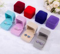 Nova moda 10 cores quadrado caixa de jóias de veludo vermelho pequena caixa de casamento colar de brincos caixa de brincos