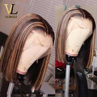 Vlwigs omber blonde highlight farbe vorgepftet hairline kurze bob brasilianische jungfrau menschliches haar gerade bob glueless perücke zcx01