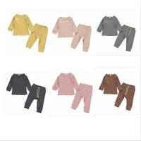 Bebek Tasarımcısı Giyim Çocuk Çizgili Pijama Giyim Setleri Erkek Kız Uzun Kollu Üst Pantolon Pijama Homewear Pamuk Nightclotes C819 Suits