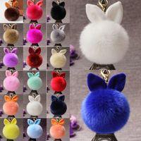Пушистый зайчик игрушки уха брелок 18 стилей Кролик Key Chain Подвески сумка брелок Pom Pom автомобиля Подвеска Keyrings оптовая продажа ювелирных изделий