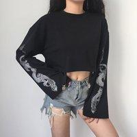 Cálido Invierno nuevo cultivo de manga larga para mujer Tops dragón impresión floja de la manera delgada del cuello de O capa ocasional suéter superior Streetwear