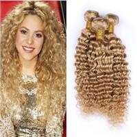 8A Bal İnsan Saç Atkı Paketler Çilek Sarışın İşlenmemiş Brezilyalı Derin Dalga Saç 3Bundles Saç Rengi # 27 Brezilyalı Virgin Paketler