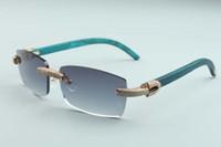 2020 novos homens e mulheres Mesmas óculos de sol personalidade de diamante T3524012-22 Óculos de sol sem fronteiras de luxo weapon de madeira verde d