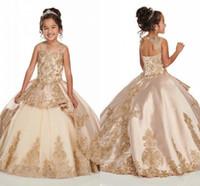 Adorable Champagne Filles Pageant Robes 2020 nouveaux cristaux de perles Appliqued longue Robe froncée enfant en bas âge Corset robes fille fleur vêtements de cérémonie