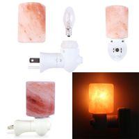 Night Light Exquisite Cylinder Natural Rock Salt Himalaya Saltlampa Luftrenare med Plug Base Amber Färg