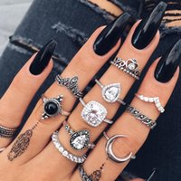 Fashion women's style vintage silver-diamond glass crystal moon ring combination set D0025 alloy ring set 10 pieces