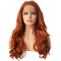 Orange synthétique avant de dentelle perruque libre partie résistant à la chaleur fibre cheveux sans colle main Tied couleur orange synthétique lacefront perruques avec des cheveux de bébé