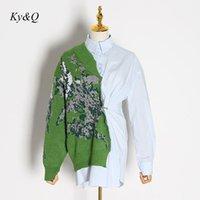 높은 품질 2020 봄 패턴 자수 셔츠 패치 워크 여성 빈티지 탑 풀오버 니트 스웨터 세련된 옷을 롱 니트