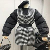 Damen Down Parkas Z-Zoux Frauen Patchwork Farbe Matching Gefälschte Zwei Winterjacke Warme Parka 2021 Mode Vintage Plaid Coats