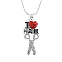 Новый Стиль Сплава Цинка Красный И Прозрачный Кристалл Эмаль Я Люблю Волосы Ножницами Ожерелье