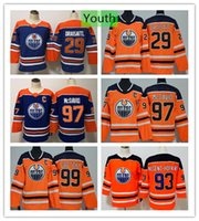 Youth Edmonton Oilers Connor McDavid 29 Leon Draisaitl Wayne Gretzky Hockey Jersey Ryan Nugent-Hopkins Blue Orange Kids Boys Stitched Jersey