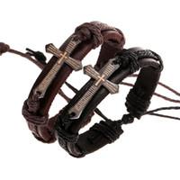 Cross Bible Charm Pulsera para mujeres hombres Unisex trenzado Cadena de cuerda Joyería Hecho A Mano Mano Negro Cuero genuino Ajustable Pulsera Vintage