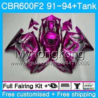 Kropp + Tank för Honda CBR 600F2 CBR600FS CBR600F2 91 92 93 94 288HM.11 CBR 600 F2 FS CBR600 F2 Rose Flames Pink1991 1992 1993 1994 Fairing Kit
