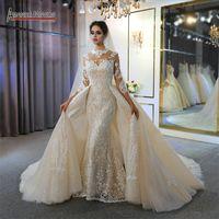 분리 기차 빈티지 높은 목 플러스 사이즈 무슬림 신부 드레스 실제 사진과 함께 샴페인 긴팔 티셔츠 인어 웨딩 드레스