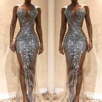 2019 Sexy Silver Sequined Mermaid Prom Dresses Front Split S...
