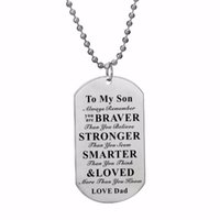 12PC Lot Inspirational Gift For Son Love Dad Necklace Family Gift Always Remember You Are Braver Stainless Steel Dog Tag Pendant