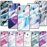 Pour Samsung Galaxy A10 A30 A50 A40 A70 S10 PLUS 5G S10E NOTE 10 PRO en verre trempé marbre coloré téléphone TPU dur Bling peau Couverture 5pcs