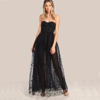 2019 noir sexy robe de soirée star femmes mignonnes superposition robe d'été sans bretelles pure découpe