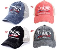 4 tipi Donald Trump 2020 Baseball Cap Patchwork lavati all'aperto rendono il cappello in America Great Again repubblicano Presidente Wash maglia della protezione del cappello di sport