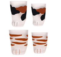 300ml 230ml 고양이 발톱 컵 우유 유리 서리 낀 유리 컵 귀여운 고양이 발 클로 인쇄 머그잔 고양이 발 커피 아이 우유 유리 컵 10oz 텀블러