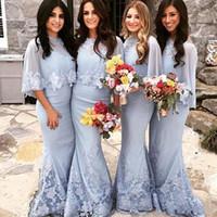 Yeni Arapça Afrika Gümüş Gelinlik Modelleri Mermaid Dantel Aplikler Boncuk Kat Uzunluk Için Düğün Konuk Elbise Parti Abiye Sardı Ceket