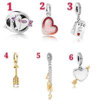 Европейская мода сердце Шарм аксессуары одна стрела через сердце бусины любовь кулон для браслет ожерелье свадебные украшения