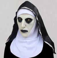 Masken-Halloween-Nonne Scared weiblicher Geist Kopfbedeckung Nonne Horror Cosplay Schablonen-Kostüm Valak Scary Latex-Maske mit dem Kopftuch 2 Style wählen DHL