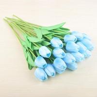 PU Искусственные цветы Шелковый тюльпаны Real сенсорный Цветы мини Тюльпан Свадебный букет Свадебный Декоративные украшения Домашний декор LXL732Q