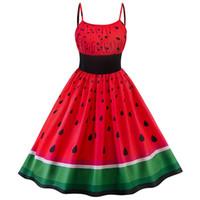 d0d1bf845aa Vestidos de la vendimia de las mujeres lindas de la impresión de la sandía  rojo dulce una línea del oscilación Venta caliente Moda Verano sin respaldo  ...