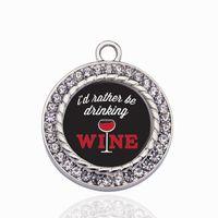 Prefiero estar bebiendo vino Círculo Encantos del encanto DIY Joyería Collar / Pulseras / Gargantilla Hacer a mano