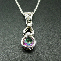 High Quality 925 Sterling Silver Rainbow Mystic Topaz Pendant Necklace for Women Gift