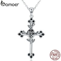 Bamoer Authentic 925 Sterling Silver Rose Flower Leaf Cross Pendant Necklaces For Women Sterling Silver Jewelry Collares Scn091 J190711