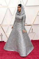 Janelle Monáe Una línea de vestidos de baile Oscar plata de las lentejuelas vestidos de noche más el tamaño de la ocasión especial del partido Vestido de fiesta vestido de la alfombra roja