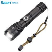 Tactical torcia elettrica principale alto lumen USB ricaricabile, ultra luminoso Cree Flash luce della torcia con clip della tasca Size, impermeabile 5 Modi Camp