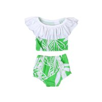 Kids Swimwear Girl Leaves Print Swimsuit Baby Lotus Neck Swi...