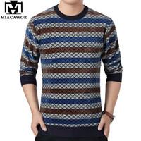 Erkek Kazak Erkekler için MiCawor Kış Kazak Polar Sıcak Kazak Erkek Rahat Çizgili Triko Slim Fit Süveter Giysileri Y250
