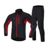 Mens à prova de vento velo lenifício alinhado jersey conjuntos de bicicleta jaqueta calças ao ar livre esporte caminhadas camping fatos de bicicleta