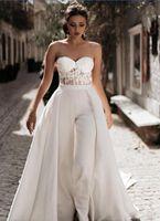 New Ankunft billig eine Linie Jumpsuits Brautkleider Schatz-Spitze-Satin mit overskirts Brautkleider Hosen Kleid Vestidos De Novia