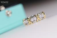 Joyería de la vendimia Schlumberger Marca S925 Cruz de Oro Zircon de la plata del anillo de bodas para las mujeres
