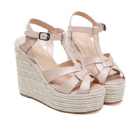Fashion designer sandals ladies wedge sandals beige T strapp...