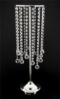 """Candelabros de mesa Centros de mesa Cristal de acrílico con cuentas Decoraciones de boda Soporte de metal - 27 """"Tall Silver Gold"""