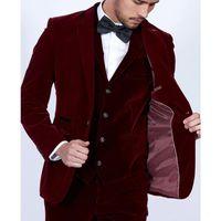 Burgundy Velvet Men wedding Suits 2019 Slim Fit 3 Piece Blazer Tailor Made Wine Red Groom Prom Party Tuxedo Jacket Pants Vest
