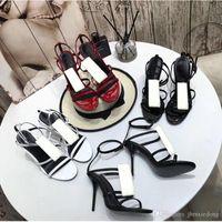 Sommer Mode Sandalen Produkt Damen Lederschuhe Römische High Heeled Schuhe Strand Metallknopf Sexy Sandals Bankett Frau Schuhe Größe 35-41
