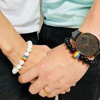 Paar Armband Rainbow Flagge Ball Naturstein 18 Achat Schwarz Onyx Perlen Armband Armreif Juni LGBT Gay Pride Armbänder Schmuck für Liebe