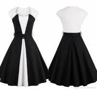 Neue Ankunfts-Schwarz-Rockabilly1950s kurze Party Kleider einfacher entworfener A Line Patchwork Frauen Cocktailkleid Mutter Kleid Plus Size FS1414