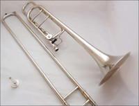 Più nuovo bello Bb / f Tune Bach Trombone tenore nichelato strumento musicale con Bocchino Caso Stick di pulizia
