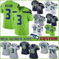 3 Russell Wilson Custom Seattle Men Women Kids Football Jerseys Seahawk 14 DK Metcalf 24 Marshawn Lynch 16 Tyler Lockett 80 Steve Largent