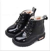 Зима Детская обувь Детская Мартин сапоги Высокие кроссовки Кожа PU девушок мальчика Детские ботинки снега Размер 21-35