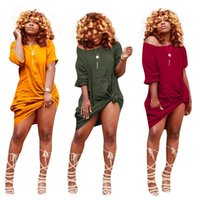 Fashion-Hot Vente 2018 Plus La Taille S-XXXL Casual Designer Femmes Robe Solide O-Cou Demi Manches Femmes High Street Loose Simple Mini Robe